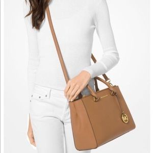 MICHAEL KORS KELLEN LEATHER SATCHEL